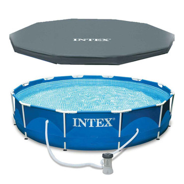 Intex Intex 12 x 30 Metal Frame Set Above Ground Swimming Pool with Filter and Cover