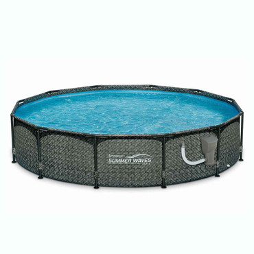 Intex Summer Waves 12ft x 33in Round Above Ground Outdoor Frame Pool with Filter Pump