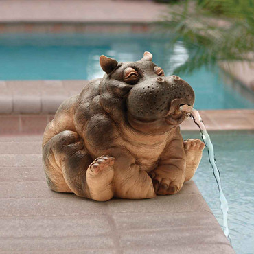 Design Toscano Design Toscano EU35009 Hanna the Hippo African Decor Piped Pond Spitter Statue Water Feature, 10 Inch, Polyresin, Full Color