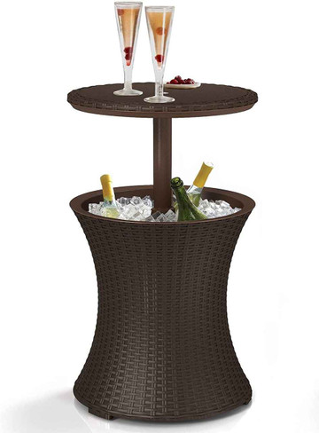 DG Pool Products Bar Outdoor Patio Furniture and Hot Tub Side Table with 7.5 Gallon Beer and Wine Cooler, Espresso Brown