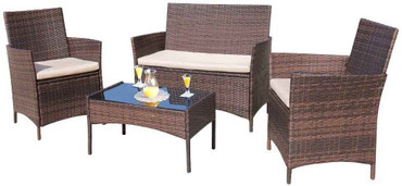 DG Pool Products 4 Pieces Outdoor Patio Furniture Sets Rattan Chair Wicker Set,Outdoor Indoor Use Backyard Porch Garden Poolside Balcony Furniture