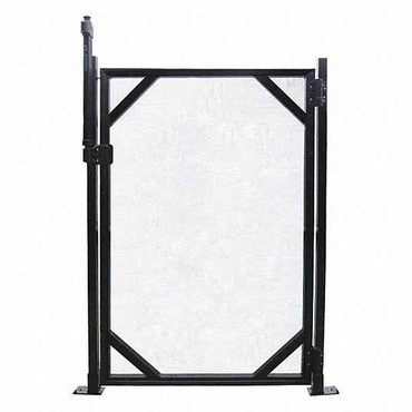 Pool Fence Safety Fence Gate, In-Ground Pool Type, Black Mesh/Stainless Steel, Width 30, Height 4 ft