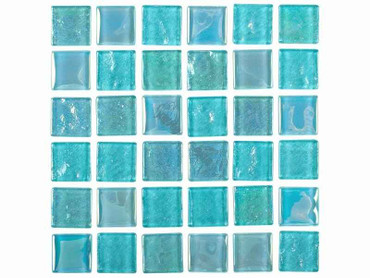 National Pool Tile Equinox 1x1 Glass Tile Icy Teal