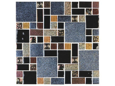 National Pool Tile SOL-ANUBIS 1 x 10 sq ft. Soleil Glass Mosaic Tile, Anubis