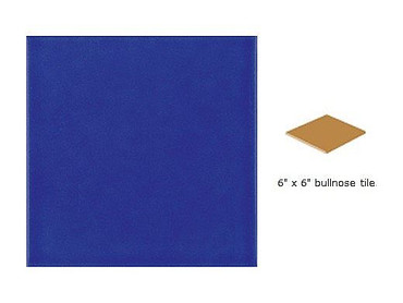 National Pool Tile 6x6 Solids Series | Glossy Cobalt Blue - Single Bull Nose