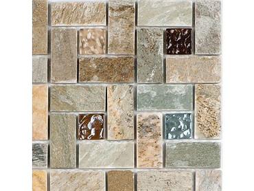 National Pool Tile Fusion Mosaic Quartz with Glass Tile Pinwheel