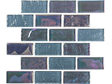 National Pool Tile Equinox 1x2 Glass Tile Black Steel