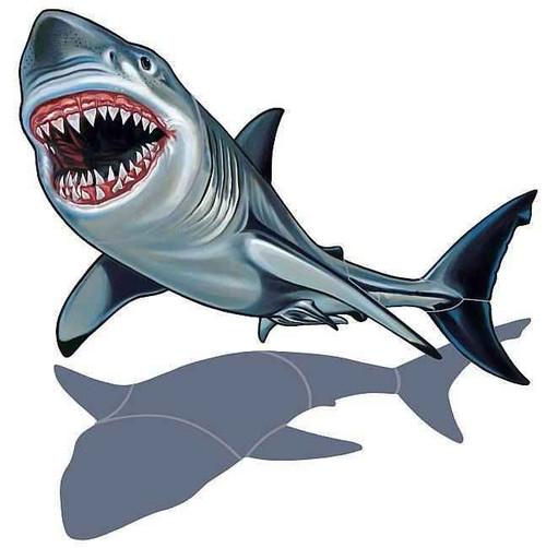 Mosaic Shark with shadow Porcelain Mosaic