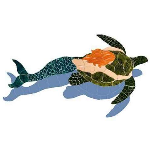 Mosaic Mermaid with Turtle MT48 Ceramic Mosaic
