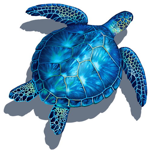 Mosaic Blue Turtle with shadow Porcelain Mosaic