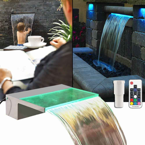 DG Pool Products Lighted Spillway Fountain 12 RGB LED Pool Fountain Koi Pond Swimming Pool 7 Color Remote Changing Spillway for Sheer Descent