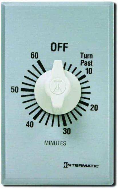 InterMatic Intermatic FF60MC 60-Minute Spring Wound Countdown Wall Timer, Brushed Metal Finish