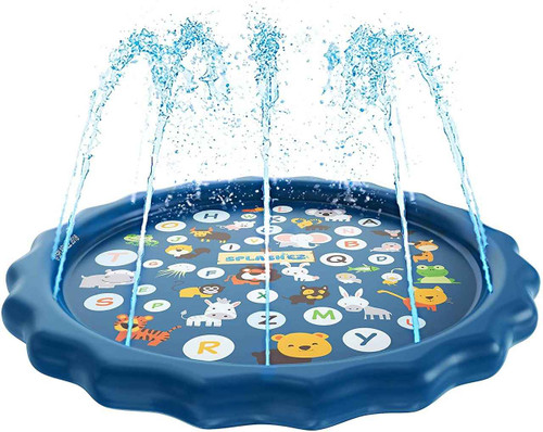 DG Pool Products 3-in-1 Sprinkler for Kids, Splash Pad, and Wading Pool for Learning – Childrens Sprinkler Pool, 60 Inflatable Water Toys – from A to Z Outdoor Swimming Pool for Babies and Toddlers