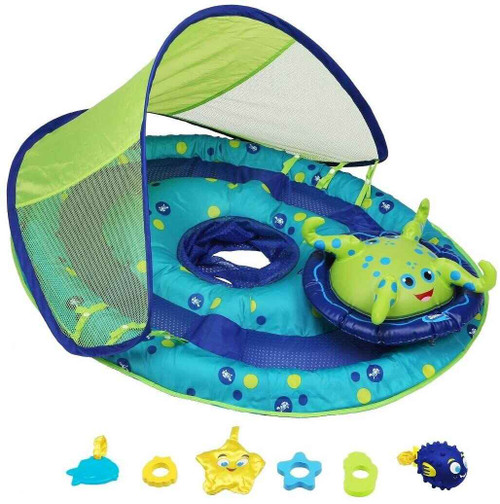 DG Pool Products Baby Spring Float Activity Center with Canopy - Inflatable Float for Children with Interactive Toys and UPF Sun Protection - Blue/Green Octopus