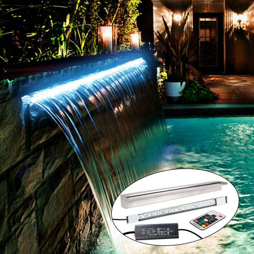DG Pool Products Lighted Waterfall Pool Fountain With LED 7 Color Changing And Remote, Stainless Steel Spillway For Sheer Descent Garden Outdoor 35.5