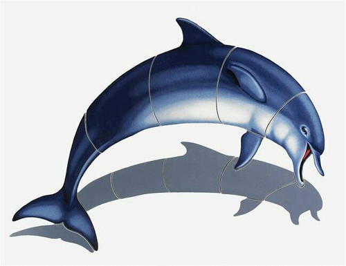 Mosaic Bottlenose Dolphin-C with shadow Porcelain Mosaic