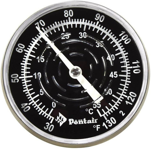 Pentair SL1DW in-Line Thermometer, 3-1/2 in. Stem Length, with Nylon Well, 30 to 130 Degrees F
