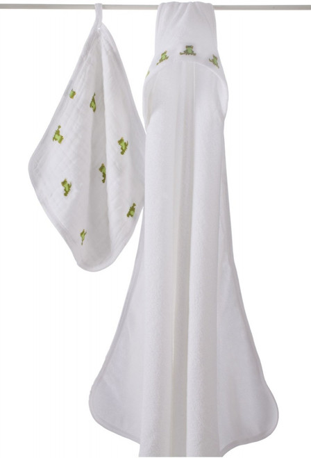 Mod About Baby Frog Hooded Towel Set towel & washcloth sets By Aden and Anais