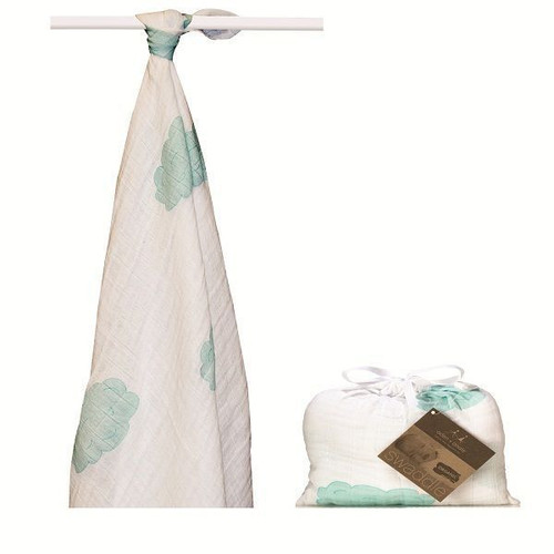 sky blue organic swaddle by Aden and Anais