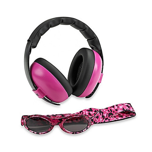 Baby Banz Earmuffs Limited Edition Hearing infant Protection + Sunglasses Magenta
