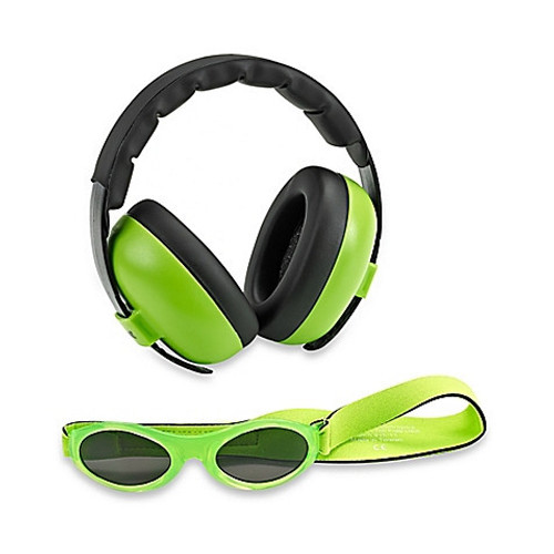 Baby Banz Earmuffs Limited Edition Hearing infant Protection + Sunglasses Lime