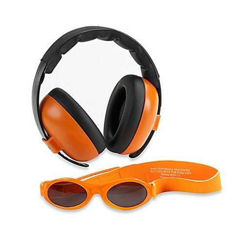 Baby Banz Earmuffs Limited Edition Hearing infant Protection + Sunglasses  Orange