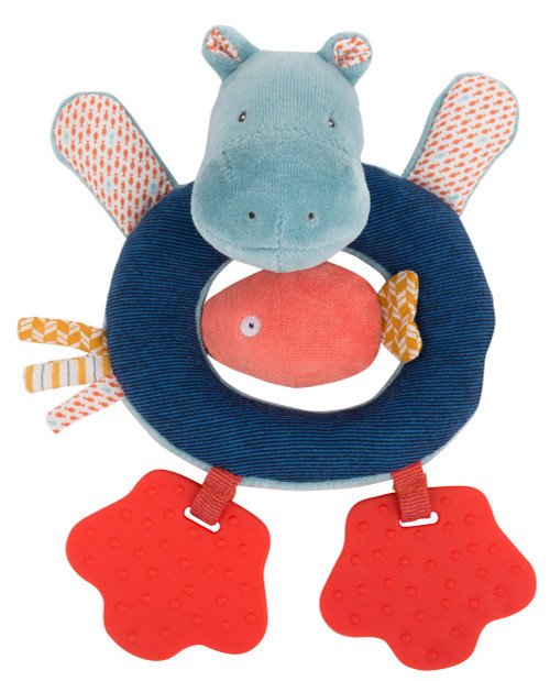 Moulin Roty Hippo ring rattle Les Papoum