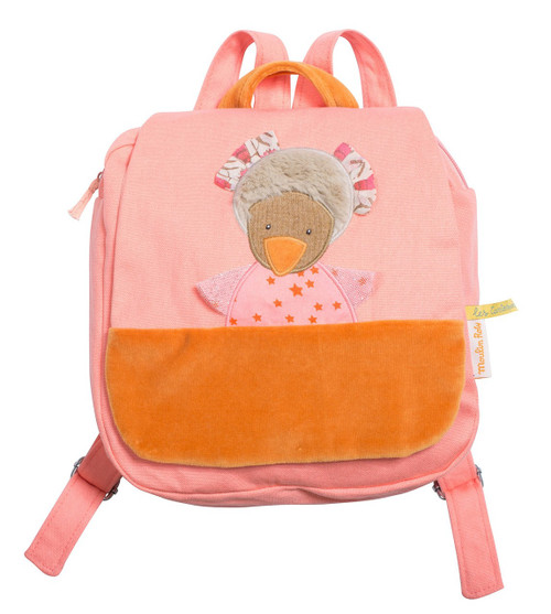 Moulin Roty Pink backpack Zaza the hen Les Tartempois Moulin Roty