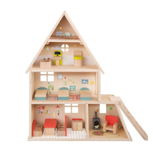 Moulin Roty Dolls' house with furniture La Grande Famille + Doll characters