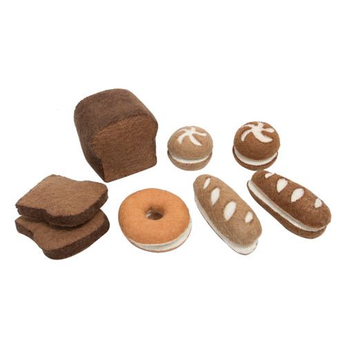 Papoose Bread Set - 17 Piece  Felt Assorted Bread Play Set