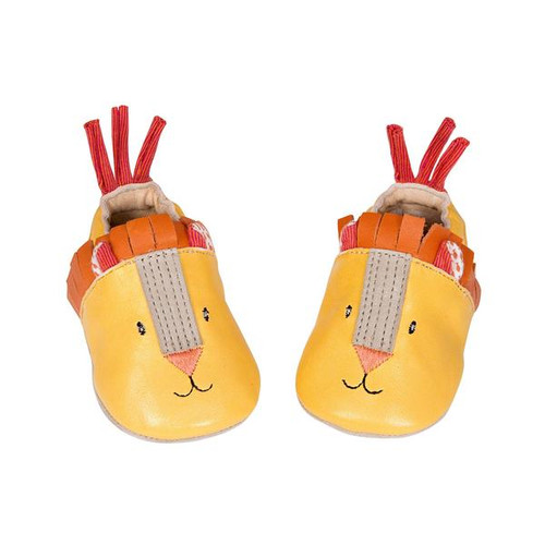 Moulin Roty BabyBotte Leather Les Papoums Lion Slippers