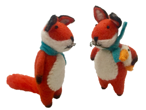 Papoose Felt Animals - Fox Pair with Scarf (2 pcs)