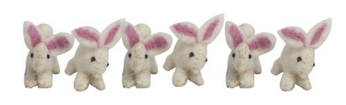 Papoose Felt Animals - Mini Bunnies (6 pcs)