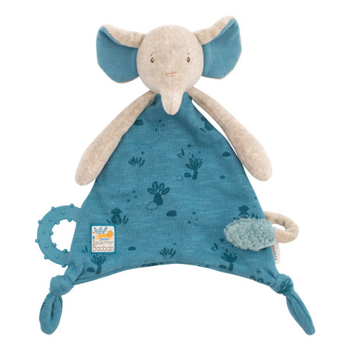 Moulin Roty Sous Mon Baobab - Elephant Lovey with Pacifier Holder