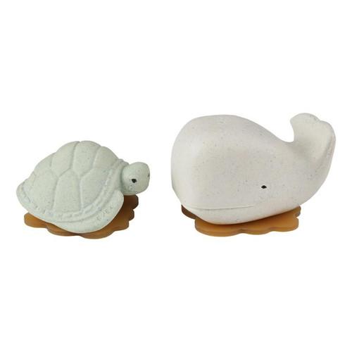 Hevea Squeeze'N'Splash Bath Toys - Whale & Turtle Gift Set- Frosty White & Sage