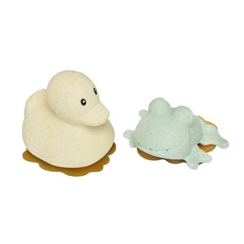 Squeeze'N'Splash Bath Toys- Rubberduck & Frog Gift Set - Sand & Sage