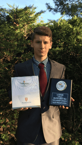 Student Presents Thompson Tee Sweat Shield Shirt, Wins First Place in State FBLA Competition