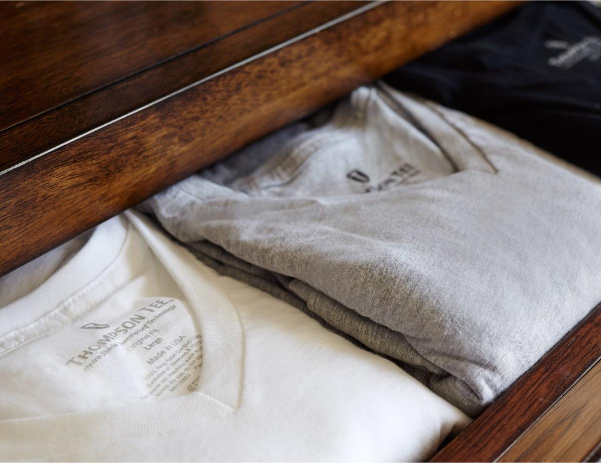 Undershirts folded in dresser drawer