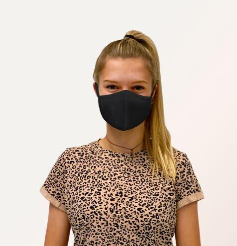 Thompson Tee COVID-19 mask on a woman