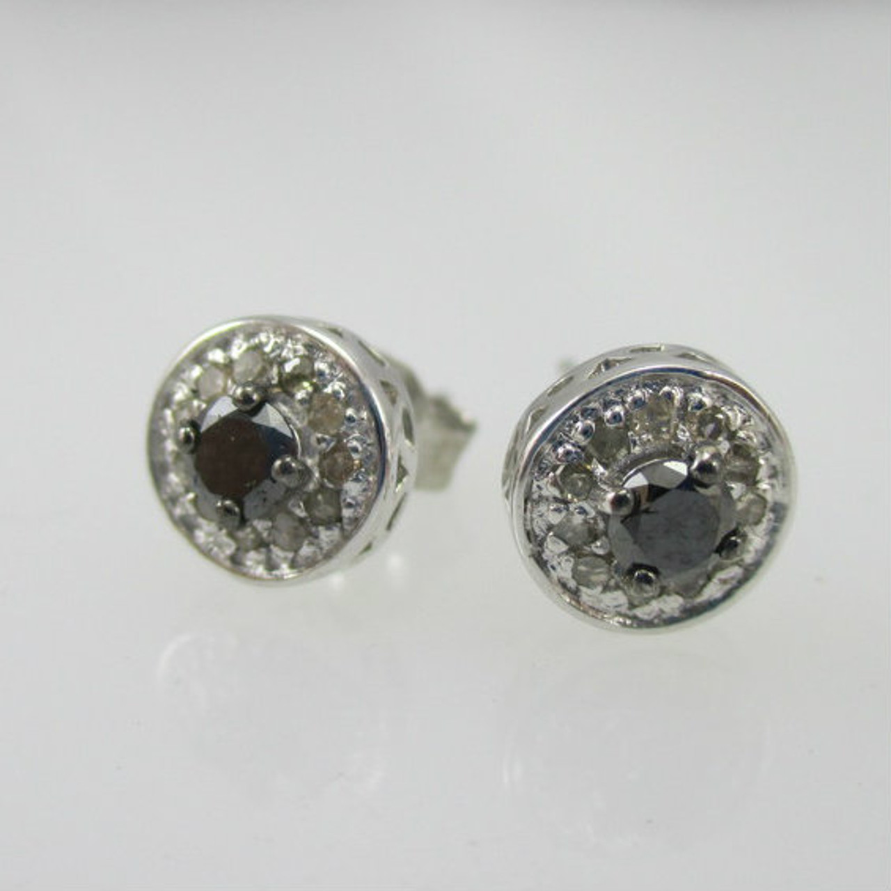 0d9ad74a3 Sterling Silver 1/3ct TW White & Black Diamond Earrings