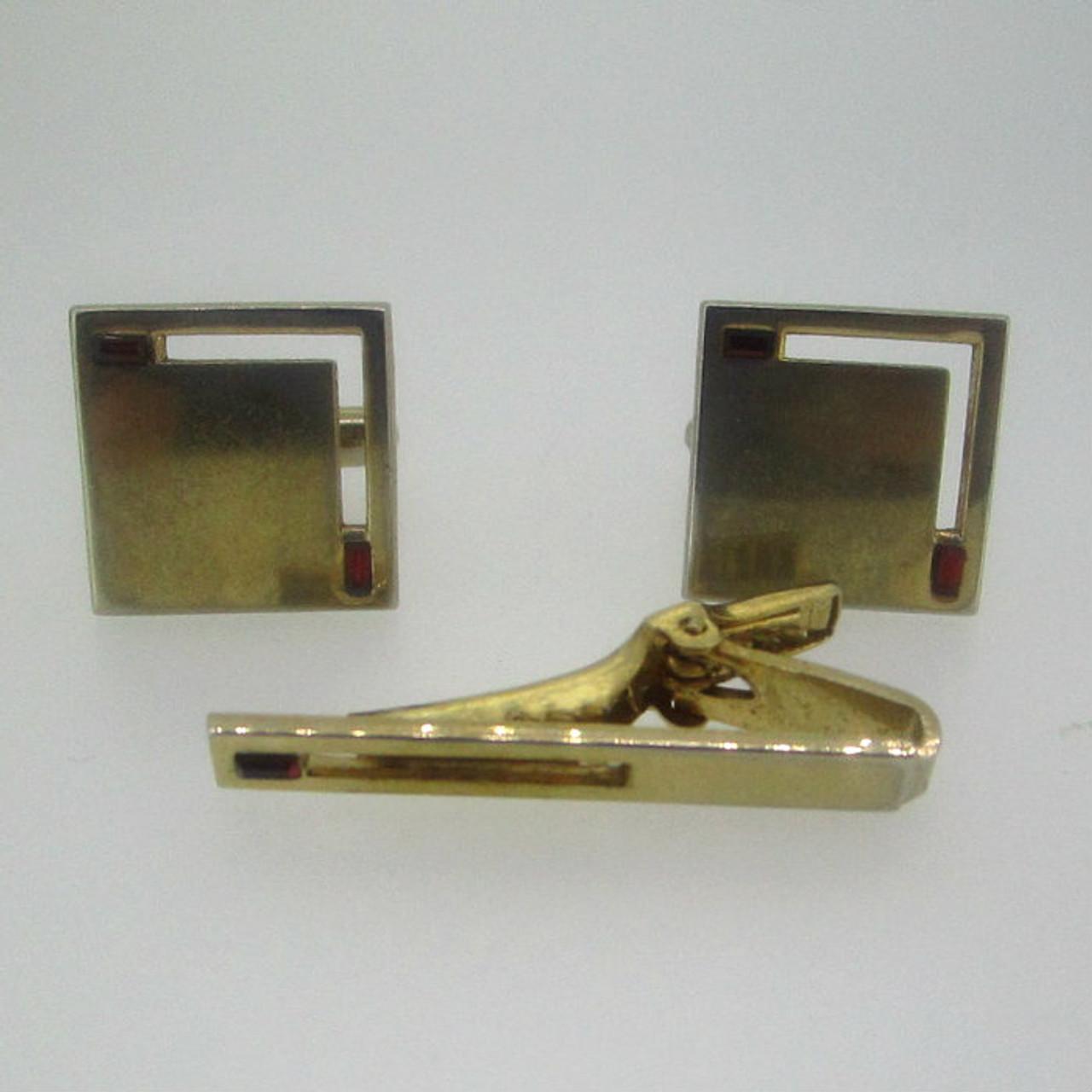 81bd011b7ddb Gold Tone Anson Red Stone Cufflinks and Tie Clip Set