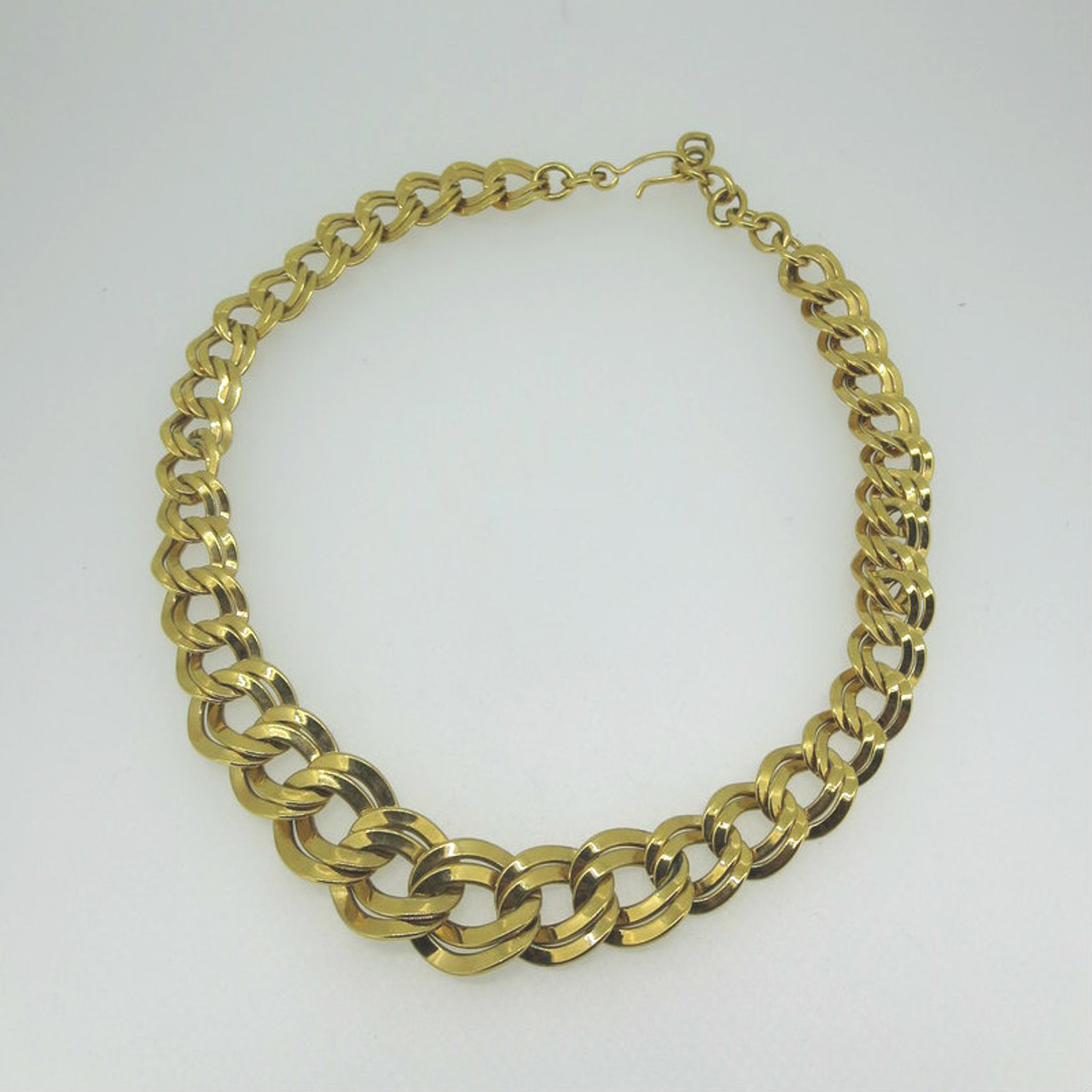 Vintage Yellow Gold Tone Monet Signed Layered Flat Chain Link