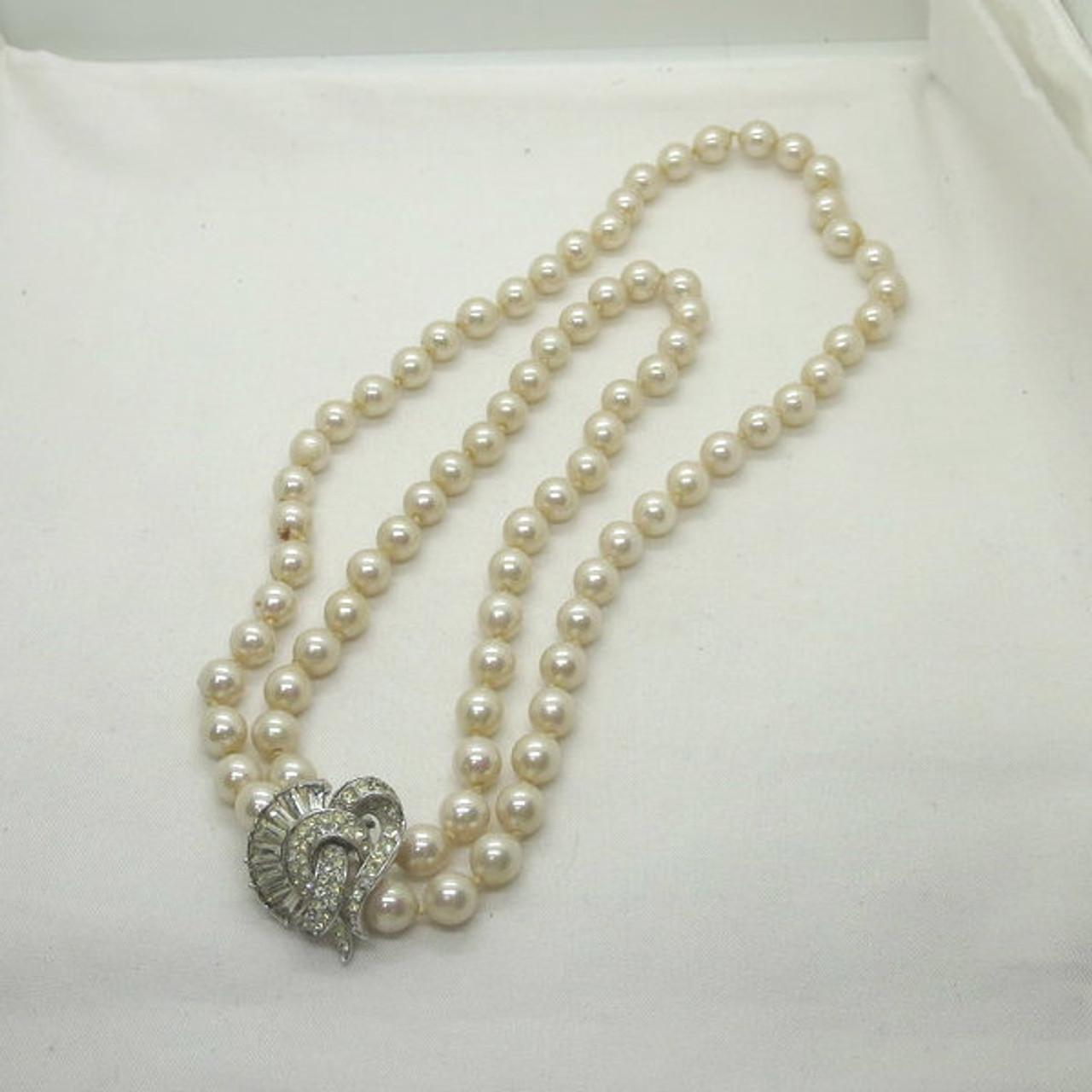 36cd42069ff5d Vintage Vendome Versatile Single or Double Strand Faux Pearl Necklace