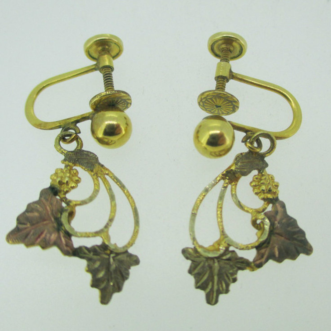 1b2366549 10k Yellow Gold Gold Filled Posts Black Hills Gold Screw Back Earrings