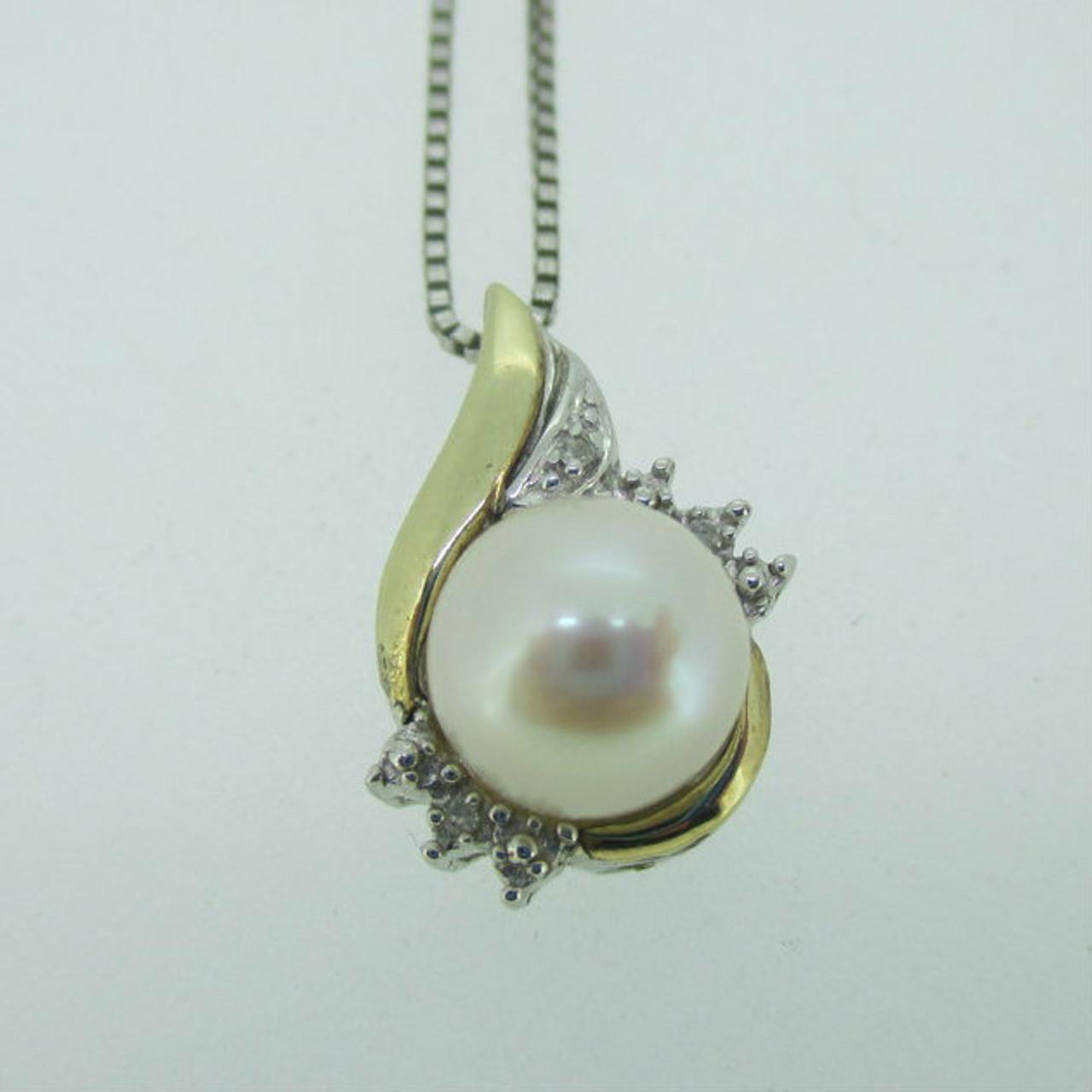 8e7aadb2fea10e Sterling Silver & 10K Yellow Gold Accent White Pearl Diamond Accent ...