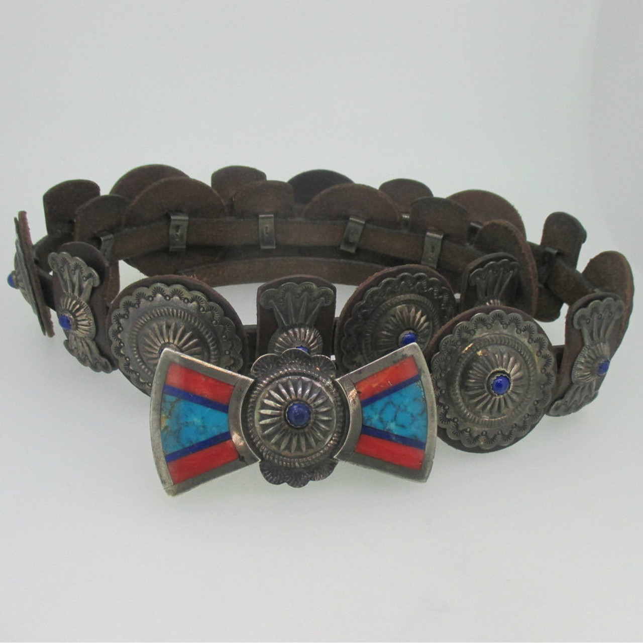 Sterling Silver Southwest Inlay Brown Leather Concho Belt With Lapis Accents