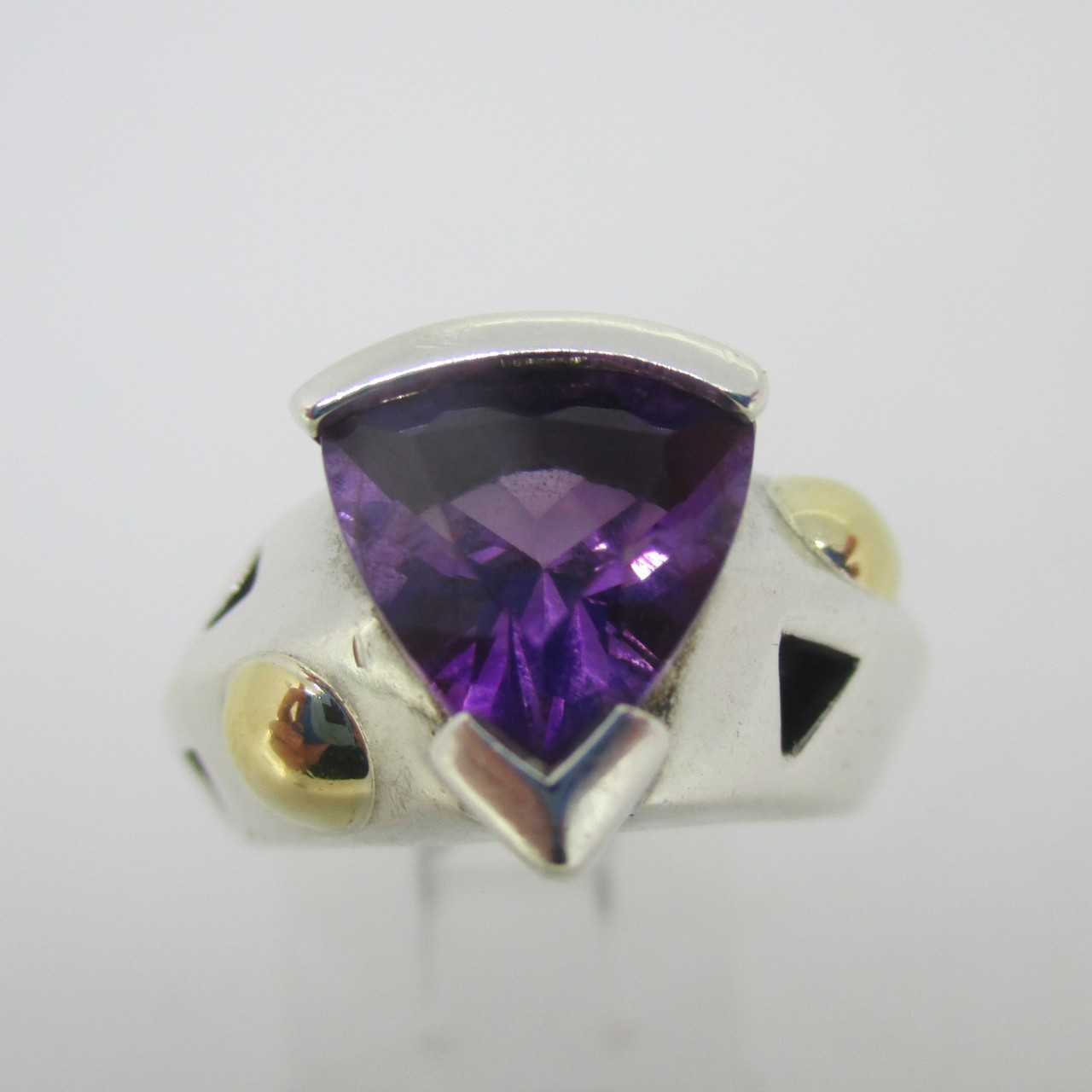 b23d68998 Sterling Silver & 18K Accent Amethyst Trillion Cut Ring Size 6.25