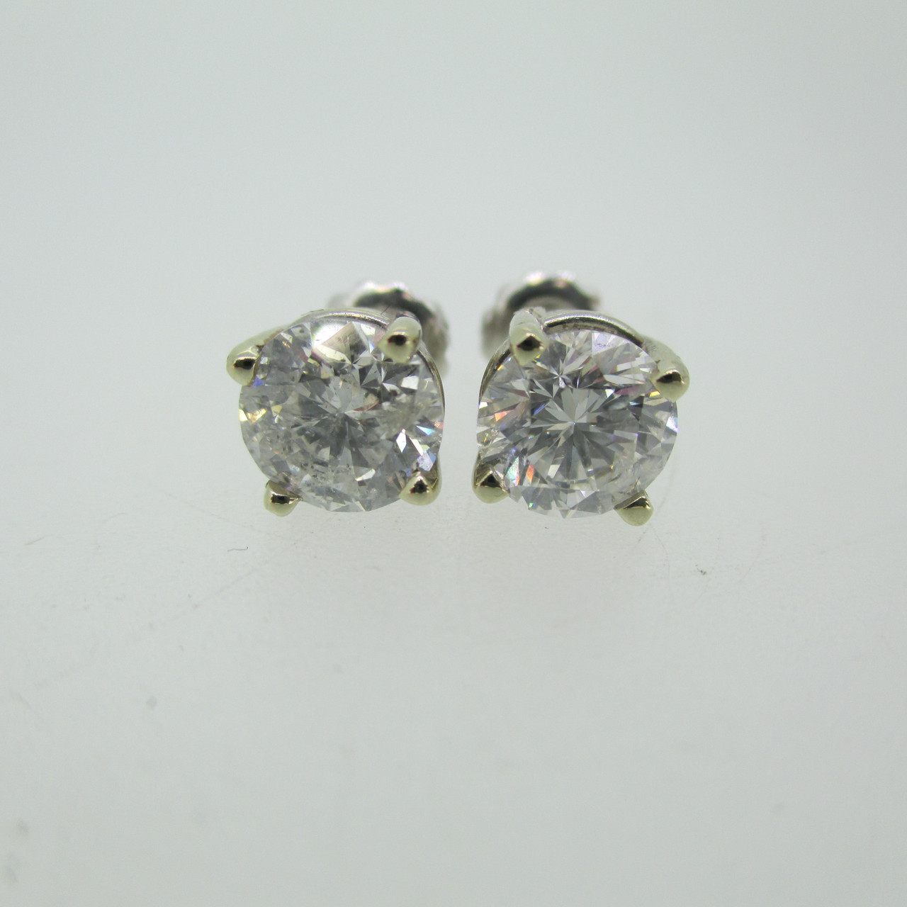 c6e8a6553d3 14k White Gold Two GIA Certified 2.48ct TW Round Brilliant Cut Diamond Stud  Earrings Screw Backs