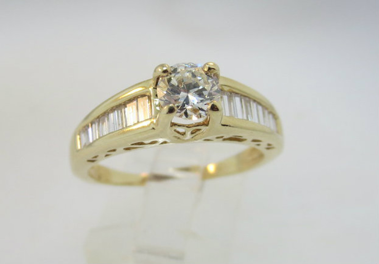 14k Yellow Gold Approx 1 01ct Tw Round Brilliant Cut Diamond Ring With Tapered American Antiques And Jewelry
