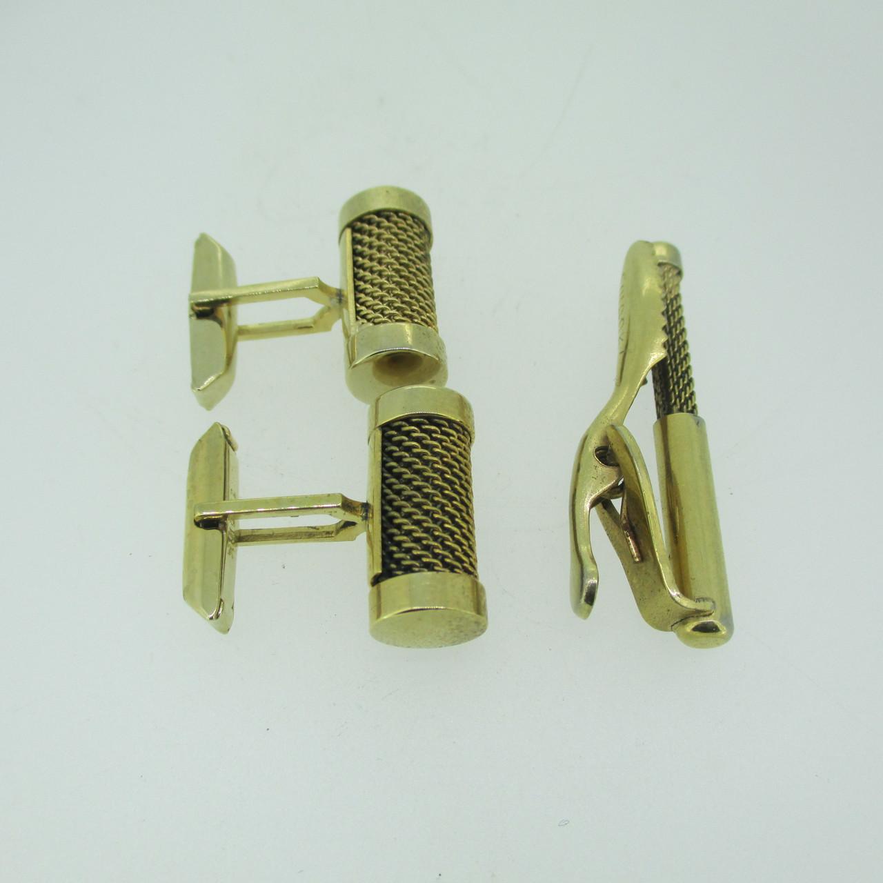 Mesh Clip Cuff Links Vintage Cufflinks Gold toned w Green Rhinestones
